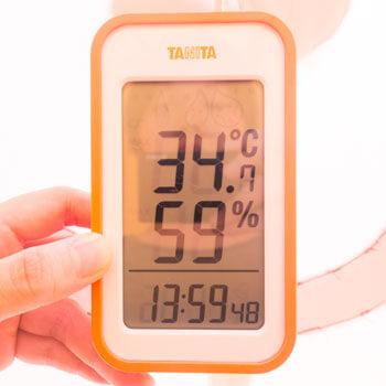 屋外で活動後のエアー着ぐるみ内部は34.7℃、湿度59%